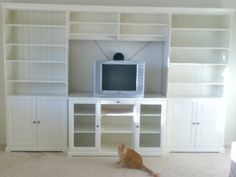 Ikea liatorp entertainment center, but do not like top piece above TV