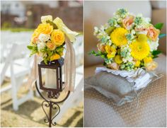 I did a country wedding like this...I will upload a photo.  Yellow is always so fresh.