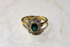 Vintage 18 KT Gold Plated Emerald Green Rhinestone Ring Christmas Gift #Unbranded #Band