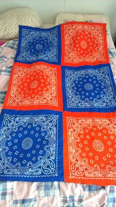Bandana Quilt I made in Detroit Tigers colors for a wedding gift. :)