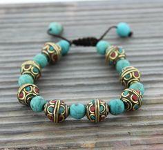 Dharmashop.com - Tibetan Traditional Turquoise and Coral Bead Bracelet , $39.00 (http://www.dharmashop.com/tibetan-traditional-turquoise-and-coral-bead-bracelet/)