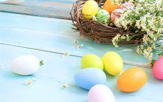 Lataa kuva kevät, pääsiäismunia, pesä, pääsiäinen koristeluun, kevään kukat, värikkäitä munia