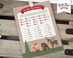 Animal Match Game - Buffalo Plaid Woodland // INSTANT DOWNLOAD // Lumberjack Baby Shower Game // Fox Moose Bear // Printable
