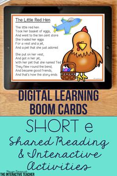 Short e Shared Reading Interactive Activities Phonics Lessons, Phonics Activities, Interactive Activities, Short E Words, Site Words, 2nd Grade Teacher, 21st Century Learning, Jolly Phonics, School Routines