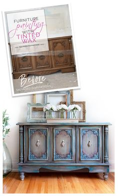 Furniture Painting with Pink Wax - Buffet Makeover Before and After