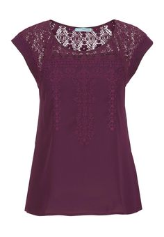 chiffon top with lace and embroidery - maurices.com