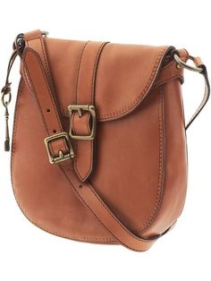 Small Fossil saddle crossbody. Perfect for traveling when you'll be walking a lot.