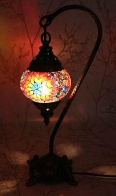 Multicolour Turkish Moroccan Mosaic Table Lamp Lampshade Hand Made Small Globe