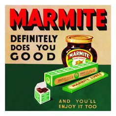 Marmite Definitely Does you good and you'll enjoy it too - Metal Advertising Wall Sign - Retro Art Vintage Advertising Posters, Advertising Signs, Vintage Advertisements, Vintage Ads, Vintage Posters, Vintage Food, Vintage Stuff, Nostalgia, Yeast Extract