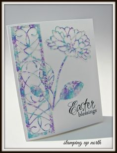 handmade Easter card from stamping up north ... delicate trellis and flower die cut from alcohol ink backgrounds made by the poster ... luv with mottled turquoise and blue ... adds lots of texture to the intricate die cuts ...