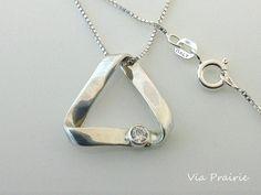Triangle Necklace with CZ stone