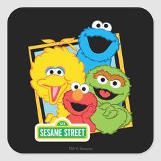 Shop Sesame Street Pals Square Sticker created by SesameStreet. Sesame Street Party, Sesame Street Birthday, Big Bird Sesame Street, Toy Story Birthday, Toy Story Party, Elmo Birthday, Mickey Mouse Clubhouse, Minnie Mouse Party, Mouse Parties