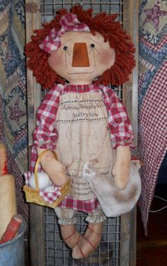 Sewing Animals Patterns Annie Chicken and Eggs E Pattern - Fabric Dolls, Rag Dolls, Ann Doll, Raggedy Ann And Andy, Bear Doll, Softies, Doll Patterns, Sewing Projects, Sewing Ideas
