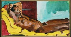 Sandra Fisher Bob Nude, After Gauguin 1992 oil on canvas, 8 x 15 inches Collection of Max Kitaj (c) Estate of Sandra Fisher