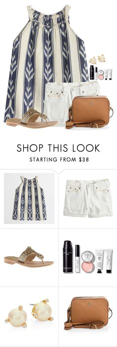 """""""In the summer I'm an AQUA-holic """" by flroasburn ❤ liked on Polyvore featuring J.Crew, Jack Rogers, Bobbi Brown Cosmetics, Kate Spade and Tory Burch"""