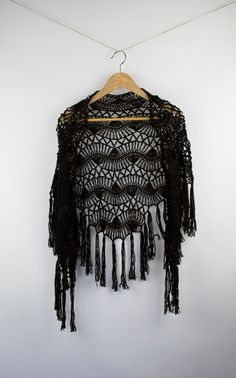 shawl black rust hairpin lace crochet wrap for her by annerstreet, $47.20