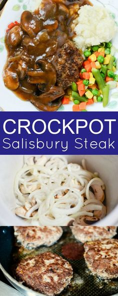 Crockpot Salisbury Steak #familyfreshmeals #salisbury #salisburysteak #steak #crockpot #slowcooker #crockpotsteak #dinner via @familyfresh Crock Pot Slow Cooker, Crock Pot Cooking, Slow Cooker Recipes, Crockpot Recipes, Hamburger Crockpot Meals, Dinner Crockpot, Crock Pots, Crockpot Dishes, Delicious Recipes