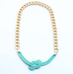 Gold Chunky Chain with mint - turquoise silk knot necklace - 24k gold plated - Statement bib