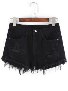 Shay Frayed Denim Shorts in Black Distressed Denim Shorts, Ripped Jean Shorts, Black Jean Shorts, Black Pants, Skinny Jeans, Short En Jean Noir, Short Noir, Short Denim, Short Shorts