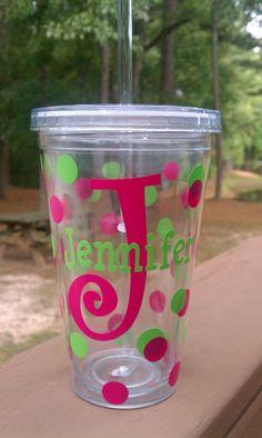 Personalized Acrylic Tumbler. $12.00, via Etsy.