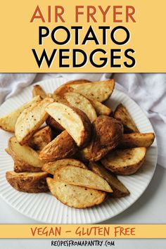 Air fryer potato wedges are a simple and tasty side dish your whole family will love. You will get the crispy crunch of deep-fried potatoes without all the oil, making these potato wedges a healthier option. Season them any way you like for a versatile weeknight side or appetizer. Click through to get this awesome Air Fried Potato Wedges. #airfryer #airfried #airfryerpotatoes #potatowedges #potatoes #vegetables Air Fryer Dinner Recipes, Air Fryer Recipes, Lunch Recipes, Breakfast Recipes, Healthy Recipes, Air Fry Potatoes, Deep Fried Potatoes, Air Fryer Healthy, Potato Wedges