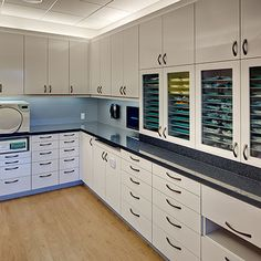 Clean side: counter tops clean. Procedural set-ups stored in closer cabinets #dentist