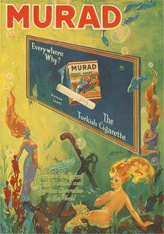 "sailorgil: "" "" Murad — The Turkish Cigarette "" … Vintage Advertisement [Circa "" Vintage Advertisements, Vintage Ads, Vintage Posters, Vintage Prints, Funny Commercials, Funny Ads, 1920s Ads, Vintage Cigarette Ads, Tarot"