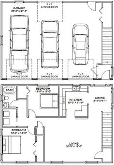 garage apartment floor plans - Google Search | Carriage House ...