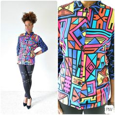 vintage 90s FLY GIRL colorful abstract shirt size S/M by PasseNouveauVintage, $26.00
