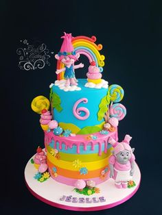 Trolls Love - cake by GoshCakes Princess Poppy Troll and Bridget The Bergen Trolls cake  Rainbow layered cake