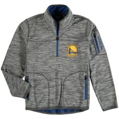 Youth Golden State Warriors G-III Sports by Carl Banks Heathered Gray Fast Pace Half-Zip Pullover Jacket