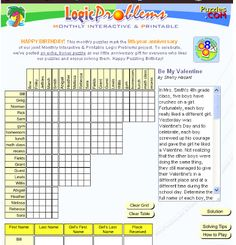Have your upper elementary kids try this Valentine logic puzzle! There's SO much more on this site!!!