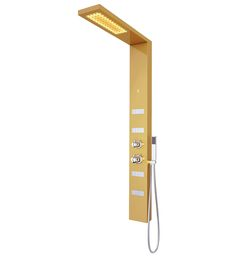 Sia LED Shower Panel Features ♦ Sia collection ♦ Item # NLP-001-005-CH ♦ Overall dimensions: 5 1/2″ L x 3″ W (front to back) x 58 5/8″ H ♦ Rainfall shower head measures: 3 1/4 L x 9″ W ♦ Shower arm extends 20 1/8″ from wall ♦ Panel made of heavy duty stainless steel …