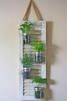 Recycled Shutter Mason Jar Herb Planter