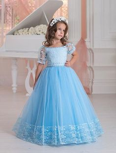 2016 Vintage Lace Applique Flower Girls' Dresses For Weddings Sky Blue Little Prom Party Gowns Floor Length Short Sleeve Kids Formal Wear