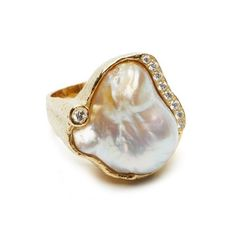 White Baroque South Sea Pearl and Diamond Ring - Katy Briscoe, Fine Jewelry and Home Collection