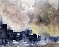 Paysage abstrait aquarelle Fine Art Print 10 x 8 par SusanWindsor
