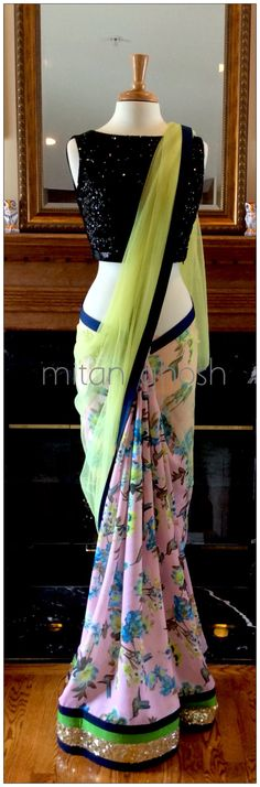 Printed crepe Saree with net palla.