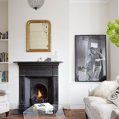 Edwardian and Victorian chimneypieces - Edwardian and Victorian chimneypieces See all our stylish living room design ideas on HOUSE by House & Garden, including this room featuring an Edwardian fireplace Edwardian Fireplace, Vintage Fireplace, Edwardian House, Edwardian Style, Modern White Living Room, White Rooms, Minimal Living, White Walls, Fireplace Surrounds