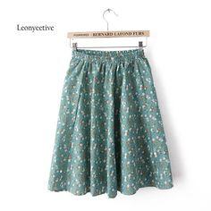 Leonyeetive 2017 Wiosna Lato Casual Floral Fashion Spódnice odzież Bawełniana Pościel Hafty Spódnica