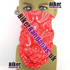 Red Paisley Pearls Multifunctional Headwear / Neck Tube Bandana. One of over 400 Styles for Men and Women