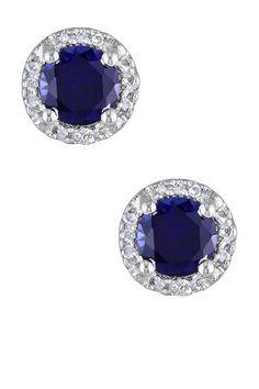 Sterling Silver Created Blue Sapphire & Diamond Round Stud Earrings on @HauteLook