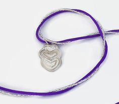 Handmade, Read to Ship Fine Silver Heart Necklace hangs on Purple Nylon and Silver Seed Beads-Inspirational Jewelry, Symbolic Jewelry