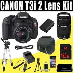 Canon EOS Rebel T3i 18 MP CMOS Digital SLR Camera with EF-S 18-55mm f/3.5-5.6 IS II Zoom Lens & EF 75-300mm f/4-5.6 III Telephoto Zoom Lens + 16GB Deluxe Accessory Kit by DavisMAX. $757.48. This DavisMAX Bundle Includes: 1- Canon EOS Rebel T3i 18 MP CMOS Digital SLR Camera w/ EF-S 18-55mm f/3.5-5.6 II IS Lens Brand New USA w/Manufacturer's Supplied Accessories 1- Canon EF 75-300mm f/4-5.6 III Telephoto Zoom Lens 1- Rechargeable LPE8 Lithium Ion Replacement Batte...