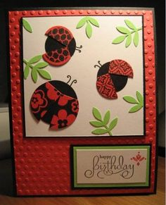 punched ladybugs...cute with different design for each wings... What a great use of Stampin' Up! Circle Circus!!