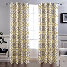 HGmart Blackout Outdoor Curtain Panel Solid Top Thermal Insulated Outdoor Shade Drape Privacy Printed Geometric Double-Sided Curtains for Patio//Front Porch 50 Inch Wide by 108 Inch Long