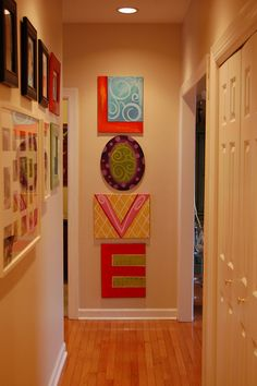 one letter per canvas - love this for the WMD of the hallway