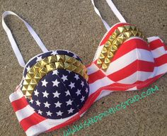 Studded Bustier Bra Top American Flag Print by ShopChicStud