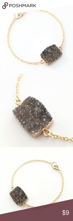 """Gold-plated genuine druzy stone bracelet True beauty in simplicity!  Genuine agate druzy crystals sparkle!    Nickel and lead free.  About 7.5"""" long.  PRICE IS FIRM and extremely reasonable, but click """"add to bundle"""" to save 10% on your purchase of 2+ items! Jewelry Bracelets"""