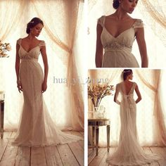 Wholesale Wedding Dresses - Buy 2013 Wedding Dresses Inspired by Anna Campbell Chiffon Backless V Neck Court Train Sleeves Bridal Dresses AC10 Dhyz 01, $189.9 | DHgate